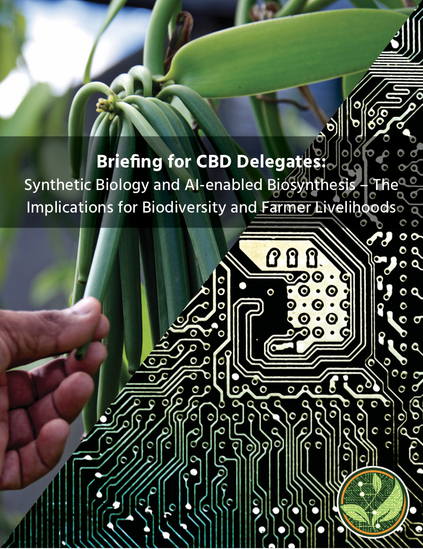 La biologie synthétique et la biosynthèse assistée par intelligence arti cielle (IA) — quelles conséquences pour la biodiversité et les moyens de subsistance des agriculteurs ?
