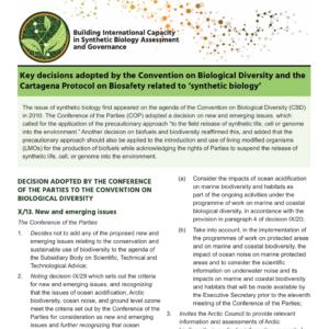 Decisions-clés adoptées par la Convention sur la Diversité Biologique relatif a la « biologie de synthèse »