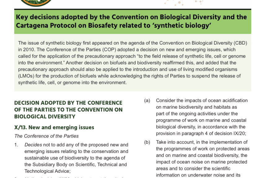 Compilations of Convention on Biological Diversity Decisions on Synthetic Biology