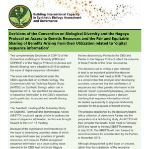Décisions de la Convention sur la Diversité Biologique: « l'information numérique sur les ressources génétiques »