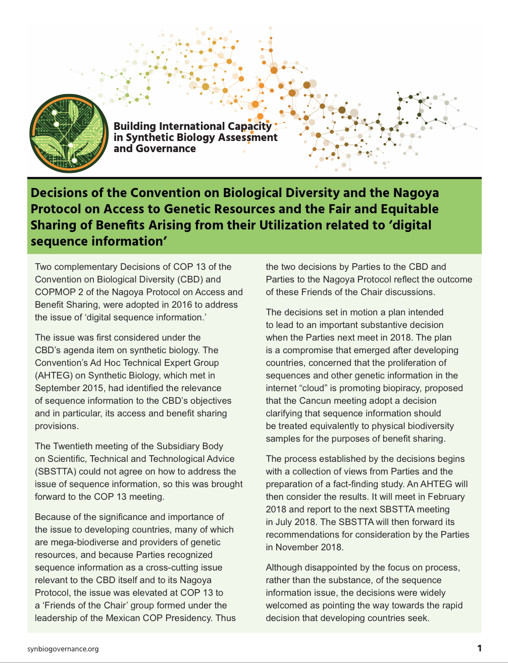 Compilations of Convention on Biological Diversity Decisions on Digital Sequence Information on Genetic Resources